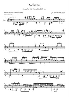Sonate für Violine Nr.1 in g-Moll, BWV 1001: Siciliano. Arrangement for acoustic guitar by Johann Sebastian Bach