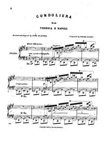 Venedig und Neapel, S.162: No.1 Gondoliera by Franz Liszt