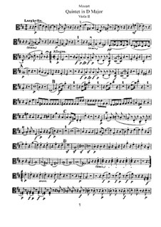 Streichquintett Nr.5 in D-Dur, K.593: Bratschenstimme II by Wolfgang Amadeus Mozart