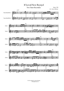 If Love Now Reynyd: For two recorders by Henry VIII