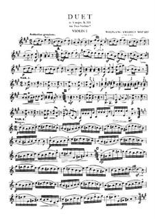 Vollständiger Sonate: Bearbeitung für zwei Violinen – Violinstimme I by Wolfgang Amadeus Mozart