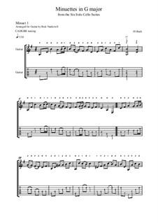 Suite für Cello Nr.1 in G-Dur, BWV 1007: Minuets I-II, for guitar by Johann Sebastian Bach