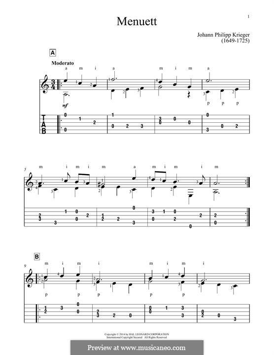Menuett: Für Gitarre by Johann Krieger