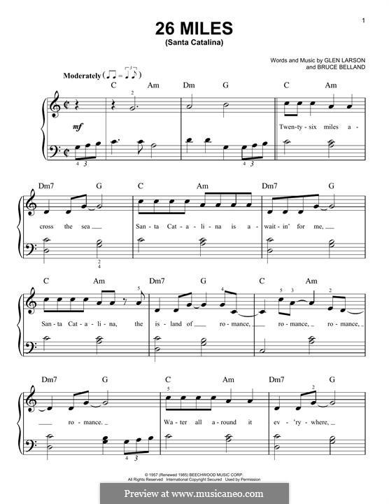 26 Miles (Santa Catalina): Für Klavier by Bruce Belland, Glen Larson