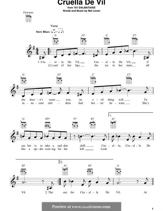 Cruella de Vil (from 101 Dalmatians): Für Ukulele by Mel Leven