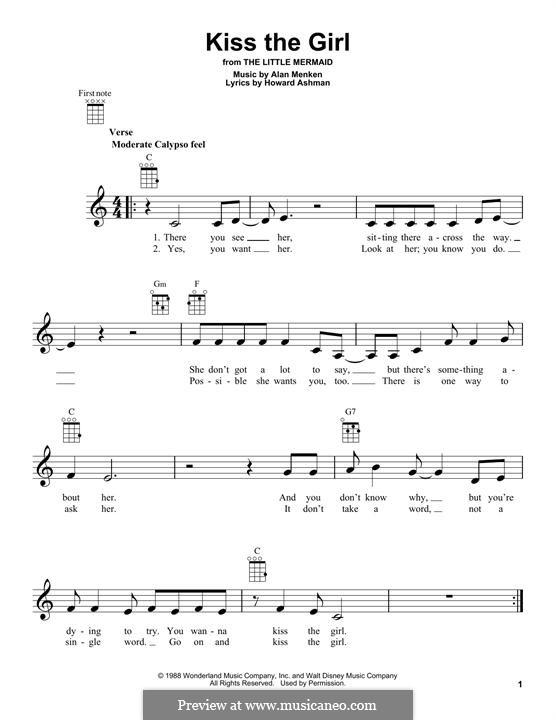 Kiss the Girl (from The Little Mermaid): Für Ukulele by Alan Menken