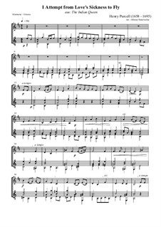 The Indian Queen, Z.630: I Attempt from Love's Sickness to Fly. Version for clarinet and guitar by Henry Purcell
