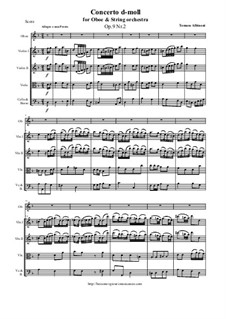 Dodici concerti a cinque, Op.9: Concerto No.2 in d-moll - score and parts by Tomaso Albinoni