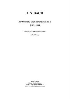 Arie: Version for SATB saxophone quartet by Johann Sebastian Bach