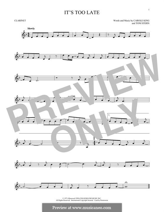 It's Too Late: Für Klarinette by Carole King