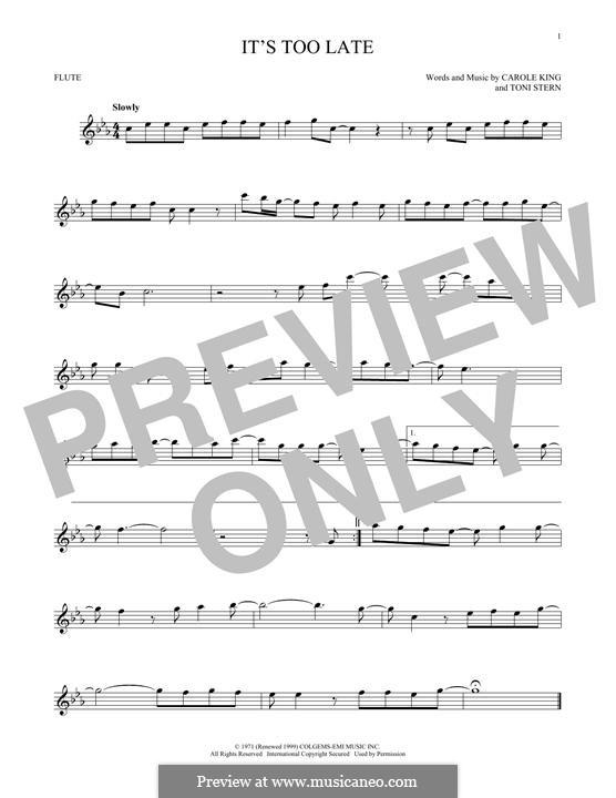 It's Too Late: Für Flöte by Carole King