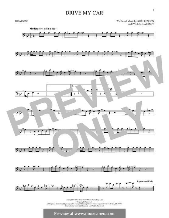 Drive My Car (The Beatles): For trombone by John Lennon, Paul McCartney