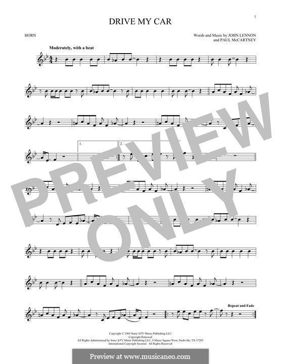 Drive My Car (The Beatles): For horn by John Lennon, Paul McCartney