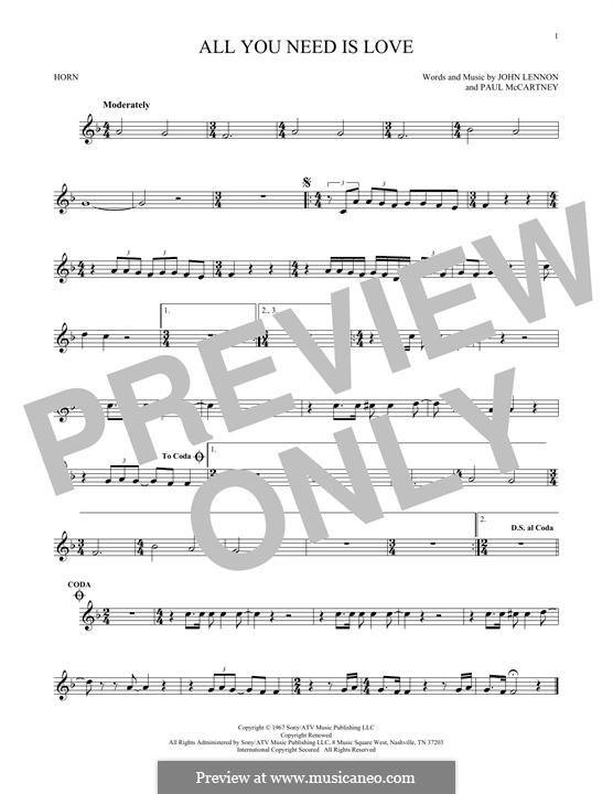 All You Need Is Love (The Beatles): For horn by John Lennon, Paul McCartney