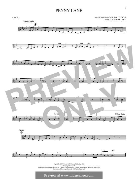 Penny Lane (The Beatles): For viola by John Lennon, Paul McCartney