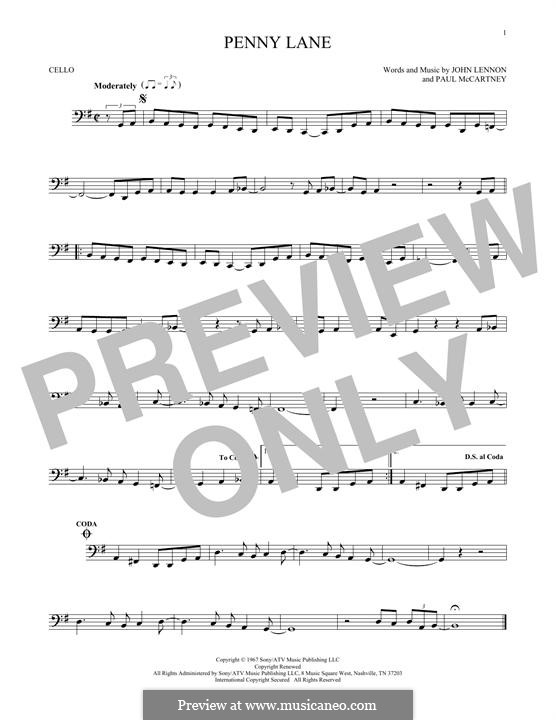 Penny Lane (The Beatles): Für Cello by John Lennon, Paul McCartney