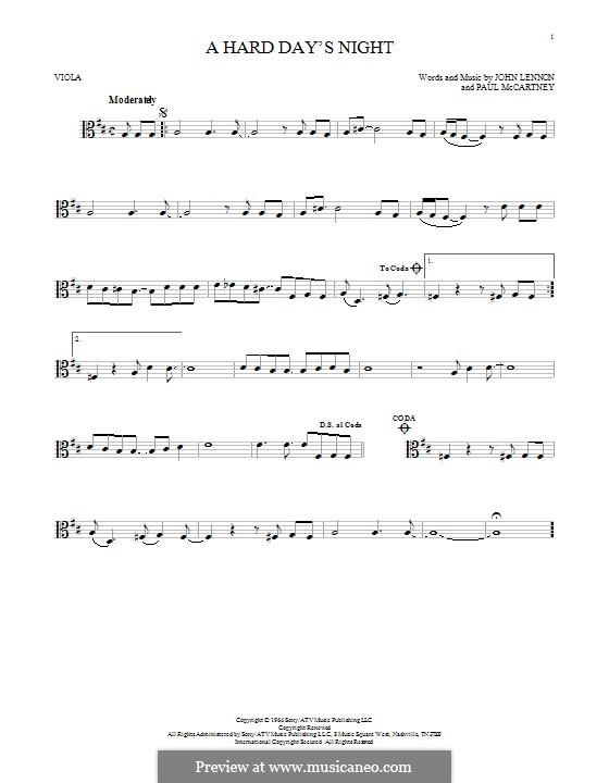 A Hard Day's Night (The Beatles): For viola by John Lennon, Paul McCartney