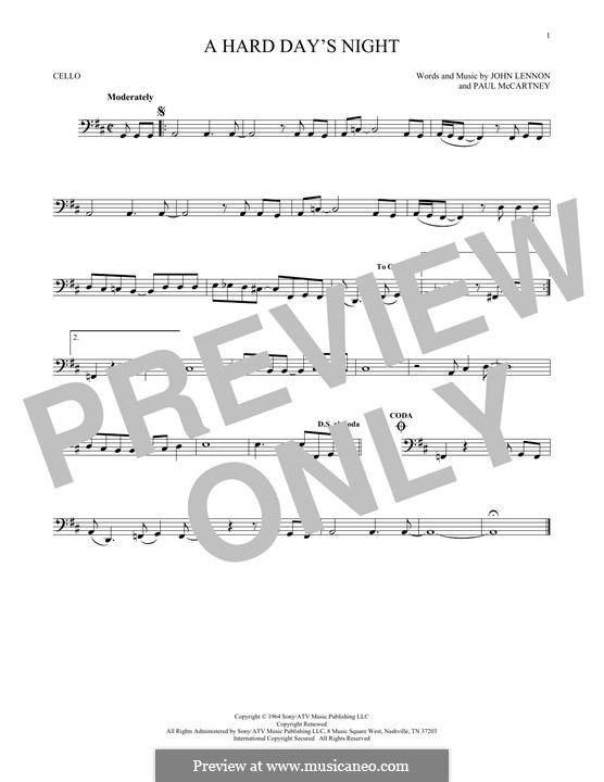 A Hard Day's Night (The Beatles): Für Cello by John Lennon, Paul McCartney