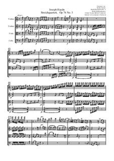 Streichquartett Nr.62 in C-Dur 'Kaiser', Hob.III/77 Op.76 No.3: Vollpartitur by Joseph Haydn