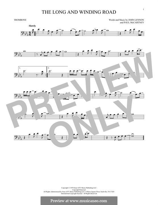 The Long and Winding Road (The Beatles): For trombone by John Lennon, Paul McCartney