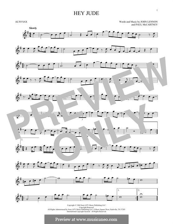 Hey Jude (The Beatles), for One Instrument: Für Altsaxophon by John Lennon, Paul McCartney