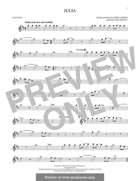 Julia (The Beatles): Für Altsaxophon by John Lennon, Paul McCartney