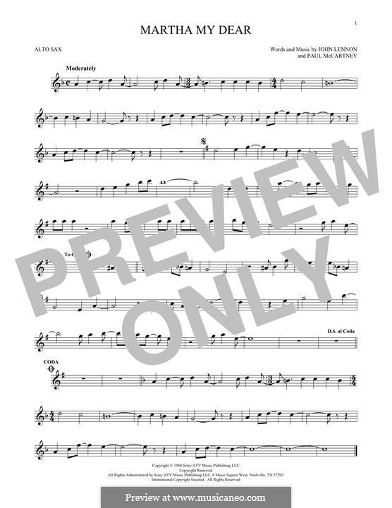 Martha My Dear (The Beatles): Für Altsaxophon by John Lennon, Paul McCartney
