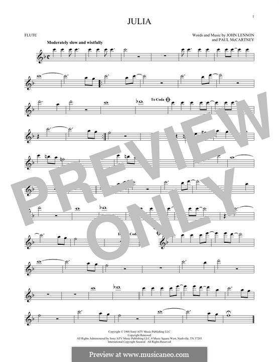 Julia (The Beatles): Für Flöte by John Lennon, Paul McCartney