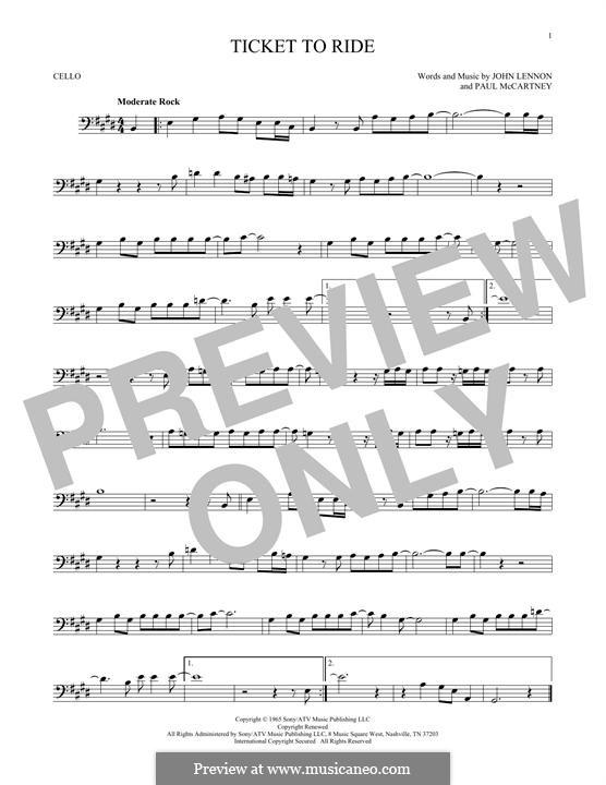Ticket to Ride (The Beatles): Für Cello by John Lennon, Paul McCartney