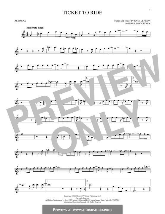 Ticket to Ride (The Beatles): Für Altsaxophon by John Lennon, Paul McCartney