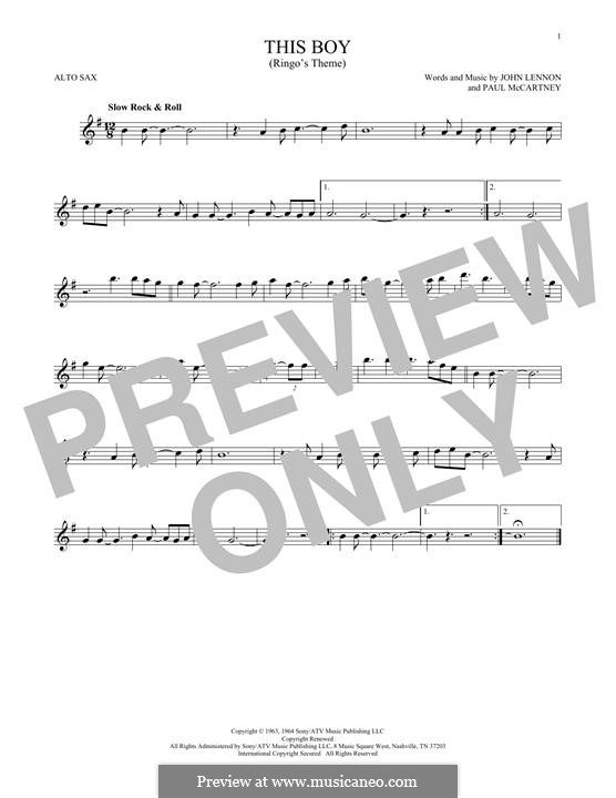 This Boy (Ringo's Theme): Für Altsaxophon by John Lennon, Paul McCartney