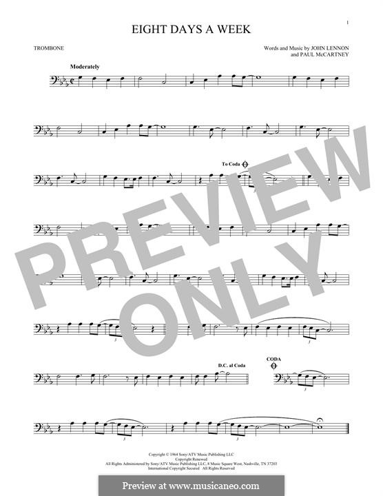 Eight Days a Week (The Beatles): For trombone by John Lennon, Paul McCartney