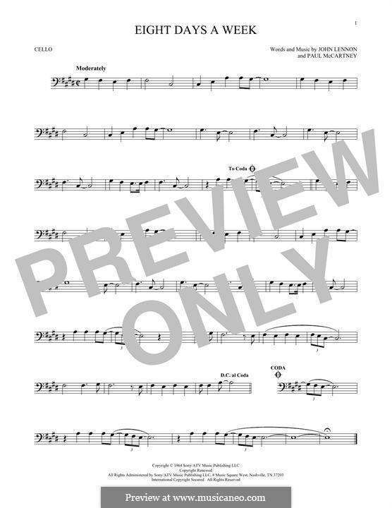 Eight Days a Week (The Beatles): Für Cello by John Lennon, Paul McCartney