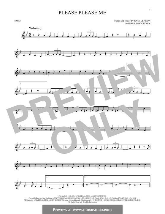 Please Please Me (The Beatles): For horn by John Lennon, Paul McCartney