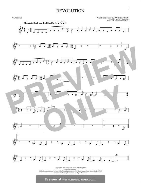 Revolution (The Beatles): Für Klarinette by John Lennon, Paul McCartney