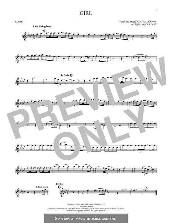 Girl (The Beatles): Für Flöte by John Lennon, Paul McCartney