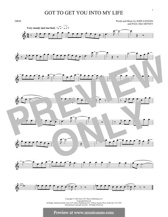 Got To Get You Into My Life (The Beatles): For oboe by John Lennon, Paul McCartney