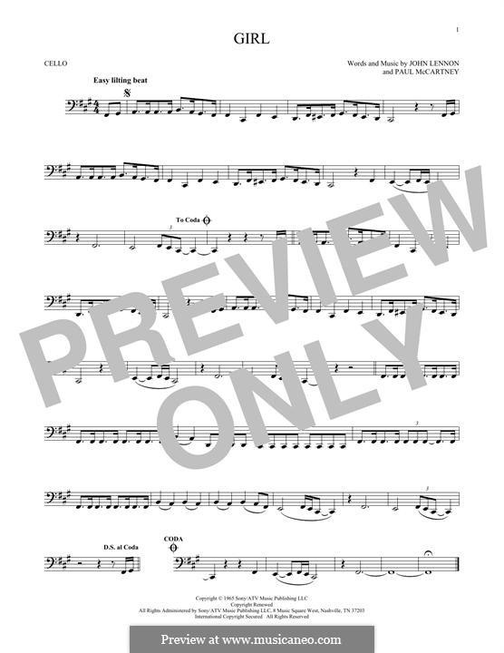 Girl (The Beatles): Für Cello by John Lennon, Paul McCartney