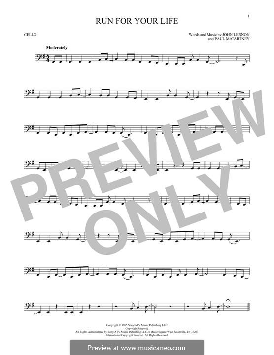 Run for Your Life (The Beatles): Für Cello by John Lennon, Paul McCartney