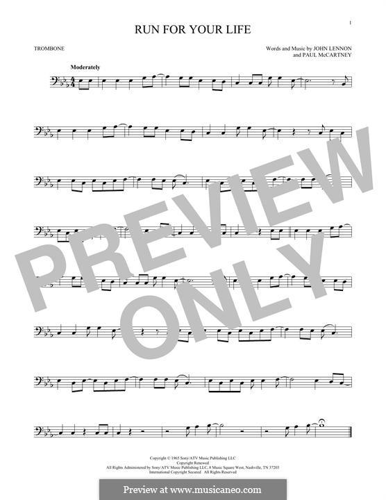 Run for Your Life (The Beatles): For trombone by John Lennon, Paul McCartney