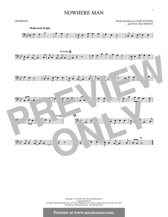 Nowhere Man (The Beatles): For trombone by John Lennon, Paul McCartney