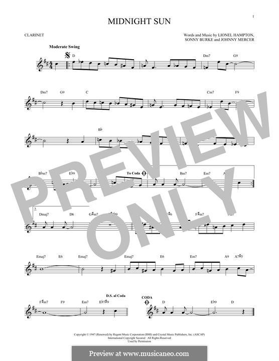 Midnight Sun: Für Klarinette by Johnny Mercer, Lionel Hampton, Sonny Burke