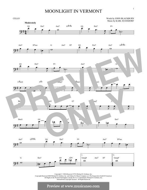 Moonlight in Vermont (Frank Sinatra): Für Cello by Karl Suessdorf