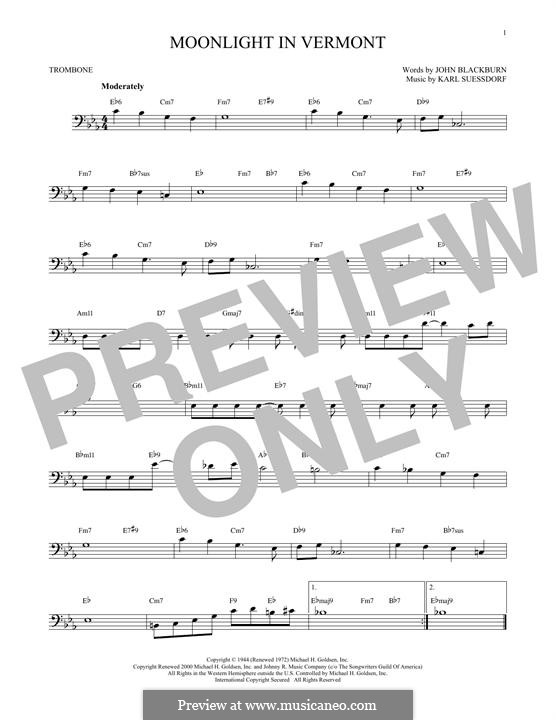 Moonlight in Vermont (Frank Sinatra): For trombone by Karl Suessdorf
