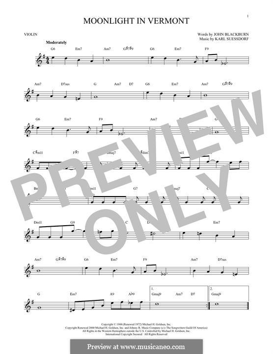 Moonlight in Vermont (Frank Sinatra): Für Violine by Karl Suessdorf