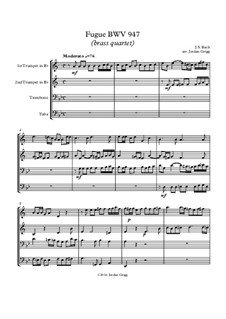 Fuge in a-Moll, BWV 947: Für Blechblasquartett by Johann Sebastian Bach