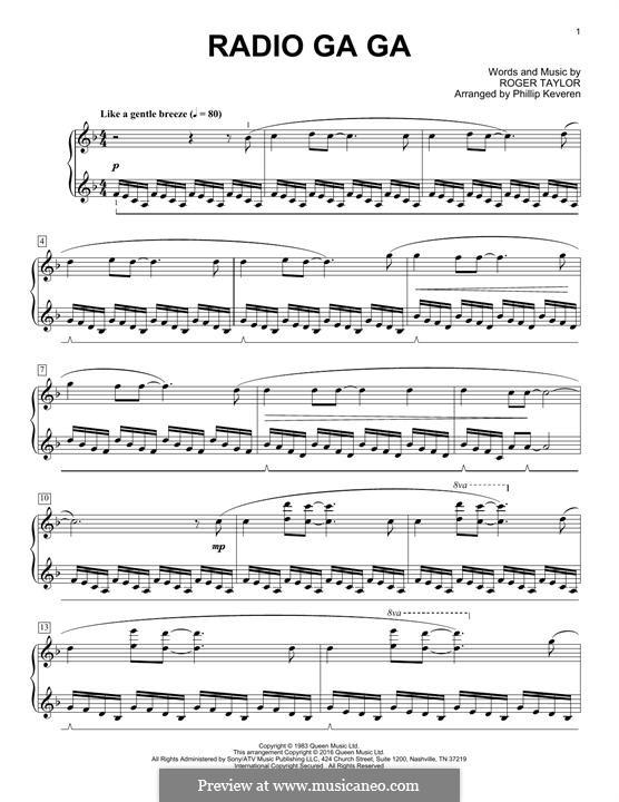 Radio Ga Ga (Queen): Für Klavier by Roger Taylor