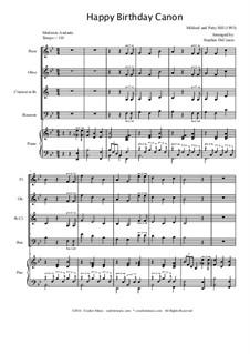 Zum Geburtstag viel Glück: For woodwind quartet by Mildred Hill
