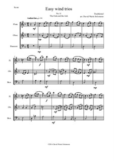 15 easy pieces for wind trio (flute, oboe, bassoon): No.11 The Oak and the Ash (A North country maid) by folklore