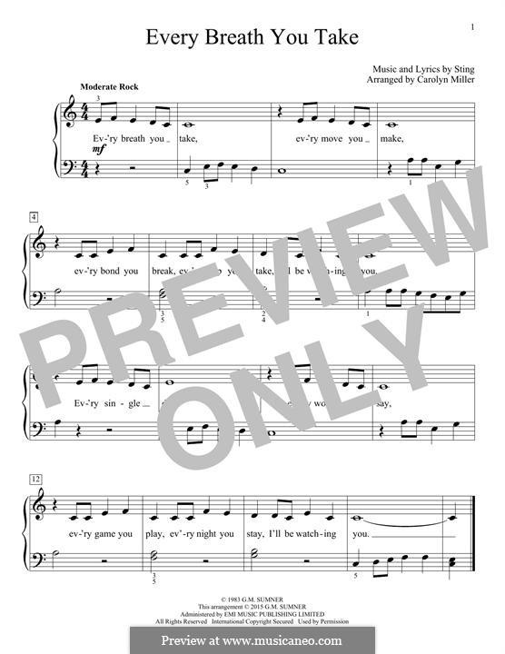 Every Breath You Take (The Police): Für Klavier by Sting